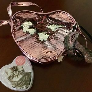 Other - Pink Reversible Sequin Bag, Headband, Cat Tin NWT